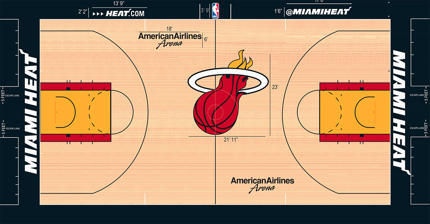 This is one of the few times where the two-toned key paint seems to work. With the flaming ball logo in yellow and red at center court—one of the largest in the league, at 23 feet tall—over top a consistent light stain, the yellow paint with the red outline matches.
