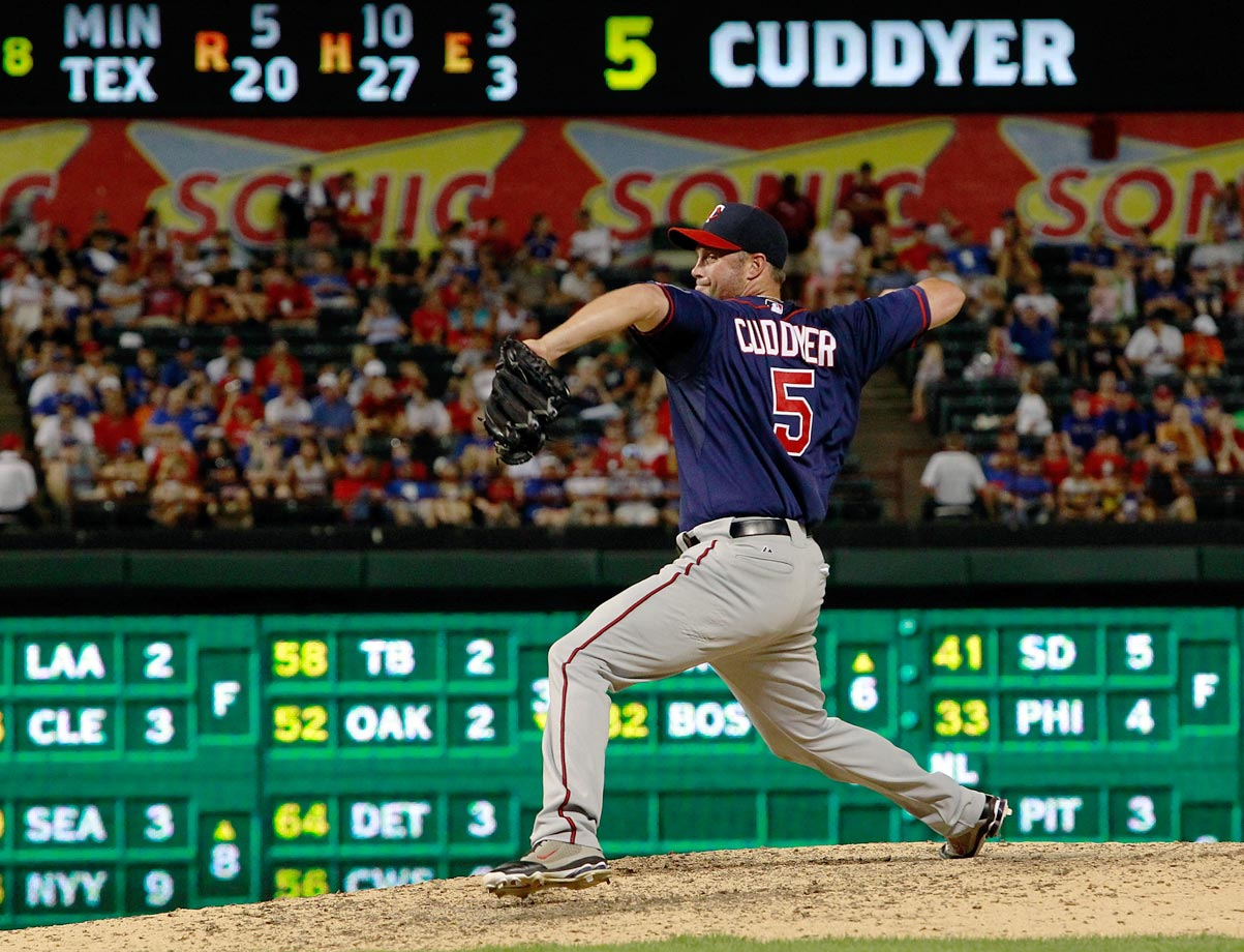 Michael Cuddyer made his pitching debut during the Twins' 20-6 loss to the Rangers. The All-Star, who also played first and right field, allowed two hits and a walk, but was one of only two Twins' pitchers to emerge without allowing a run.