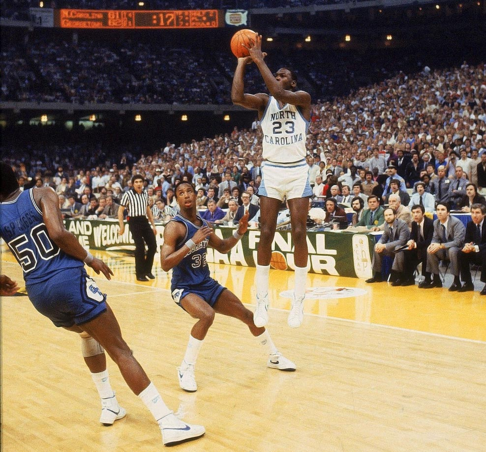 Though Jordan was perhaps the fourth-best player on the 1982 NCAA championship team, he hit the game's most important shot when he sank a jumper from the left wing with 17 seconds remaining to give the Tar Heels a 63-62 victory over Georgetown. He was the ACC's Freshman of the Year, and he followed up the next two seasons with two first-team All-America selections and Naismith and Wooden awards his junior year.