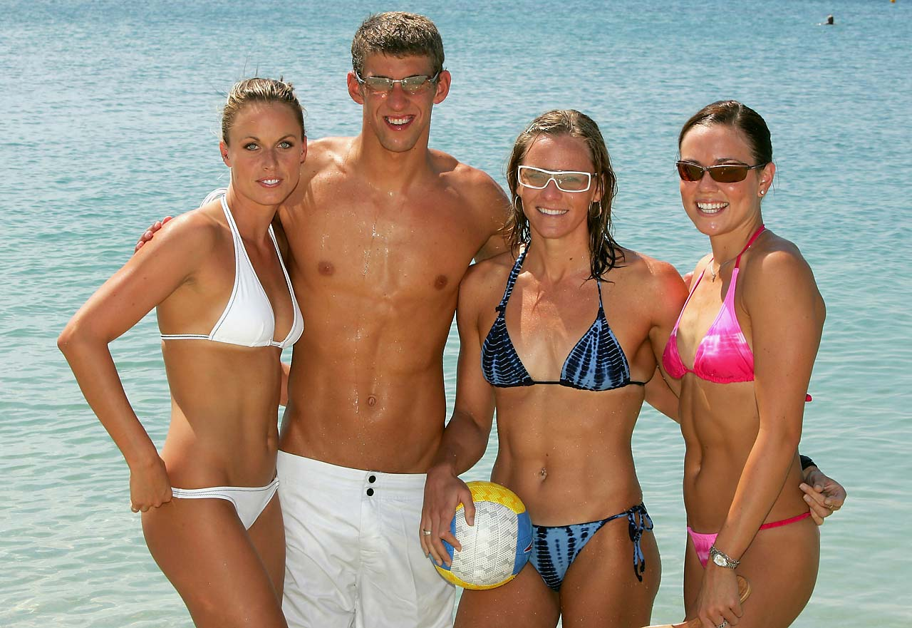 Amanda Beard, Michael Phelps, Jenny Thompson and Natalie Coughlin