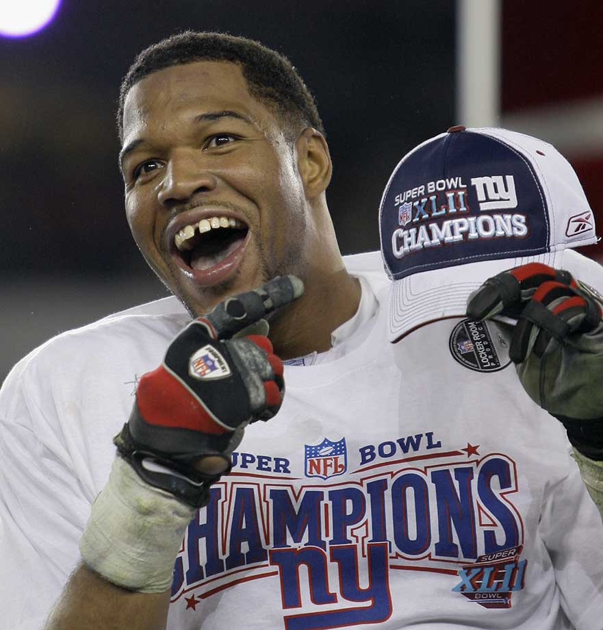 Seven-time Pro Bowl defensive end Michael Strahan left the sport on top, calling it quits four months after leading the Giants to a Super Bowl title. Strahan, who holds the NFL single-season record for sacks with 22.5 in 2001, was elected to the Hall of Fame in February 2014.