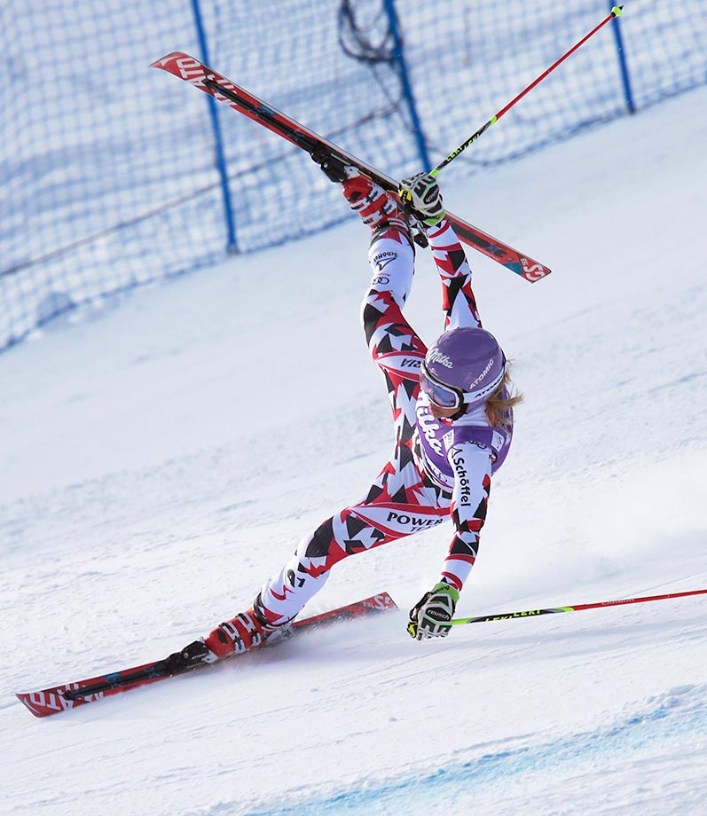 Michaela Kirchgasser of Austria crashes during the World Cup giant slalom ski race in Aspen, Colo.