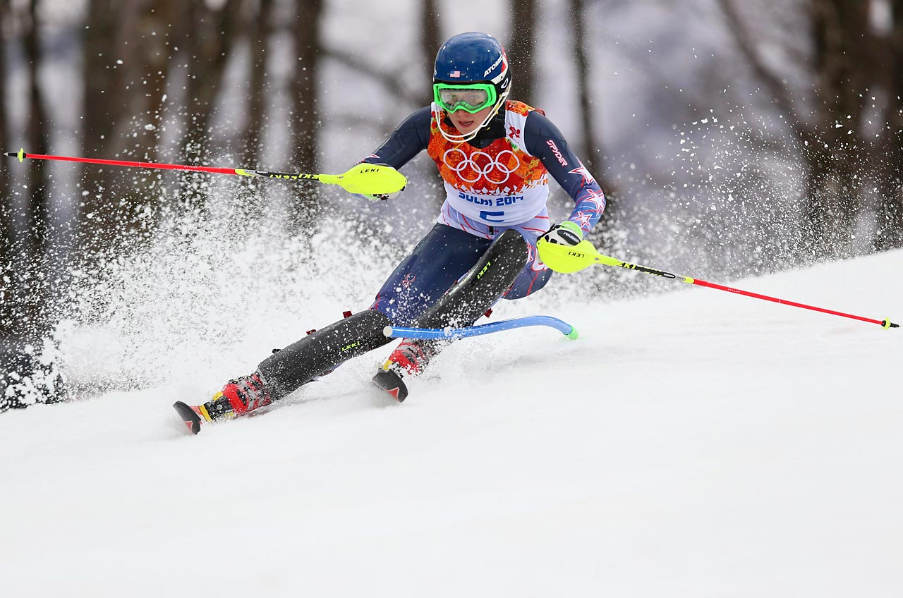 Mikaela Shiffrin, 18, made Alpine skiing history Friday as the youngest ever winner of an Olympic slalom gold medal. She took the early lead here in the first of two runs during the day.