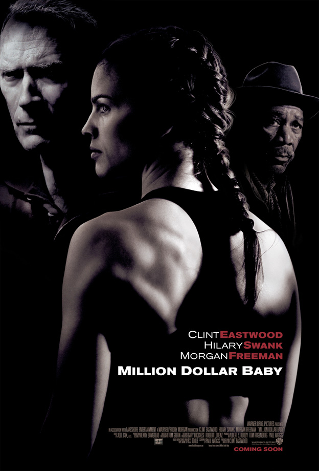 Wins (4): Best Picture, Actress (Hilary Swank), Supporting Actor (Morgan Freeman), Director (Clint Eastwood) —                    Nominations (3): Best Actor (Clint Eastwood), Editing, Adapted Screenplay