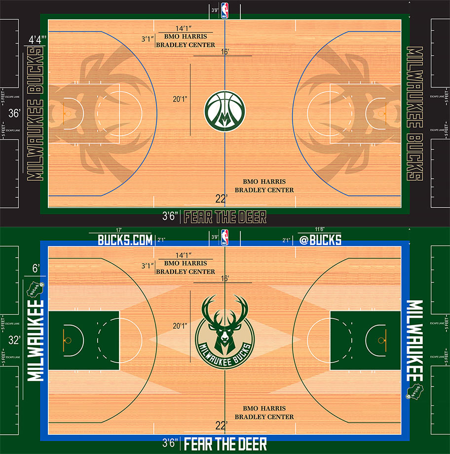 The Bucks have two fully original court designs. As a play on the team's 1970s Robert Indiana-designed MECCA Arena floor, the Bucks use dark stain to recreate the giant, colorful horizontal M on the floor. The alternate floor offers us a smaller alternate logo in the middle, removes the MECCA design and replaces it with the sweetest stain-drawn deer antlers you'll ever see inside a three-point arc.
