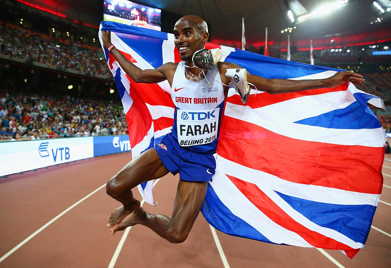 Mohamed Farah of Great Britain celebrates after winning the gold in the 5000m final at the IAAF World Athletics Championships.