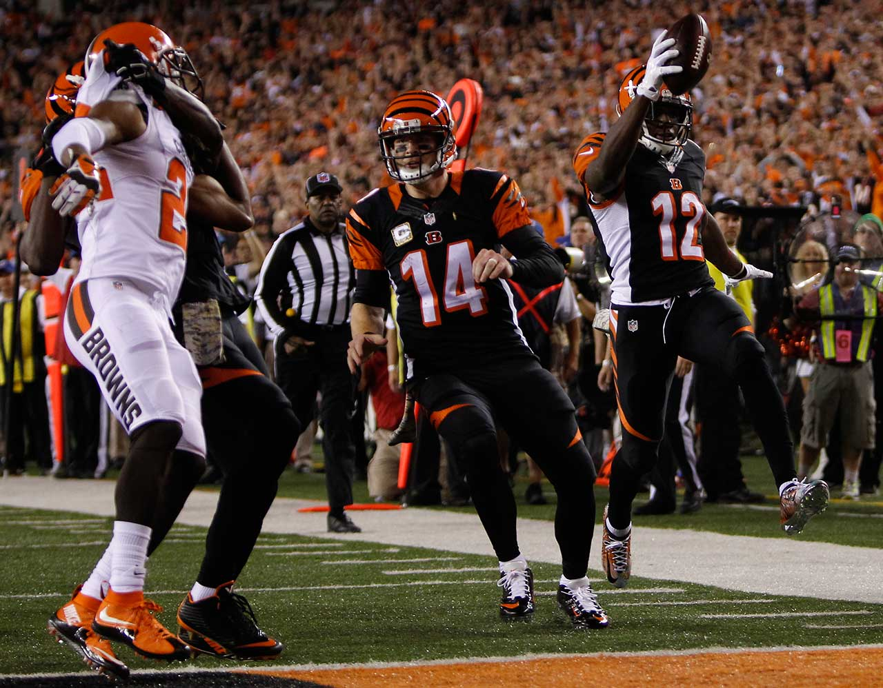 Mohamed Sanu joined the fraternity when he scored on this 25-yard run against the Cleveland Browns on Nov. 5. The Cincinnati receiver has 11 receiving touchdowns, one two-point conversion and has thrown two touchdown passes among his three passing attempts.