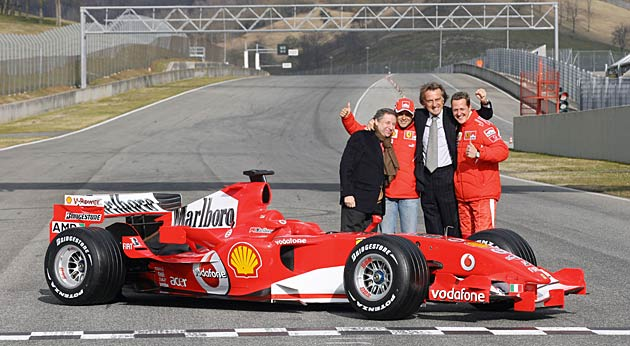 Luca di Montezemolo with F1 legend Michael Schumacher (far right).