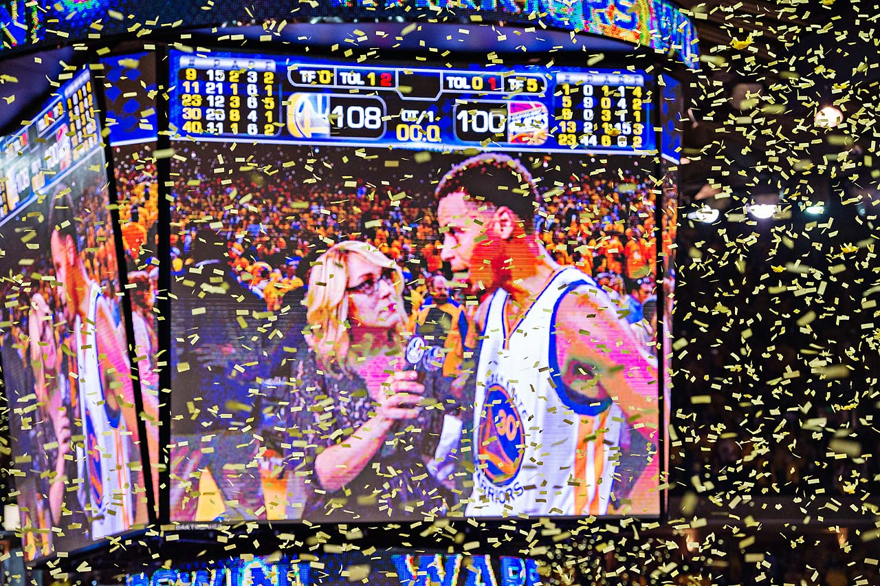 Steph Curry does a postgame interview after scoring 26 points with eight assists.