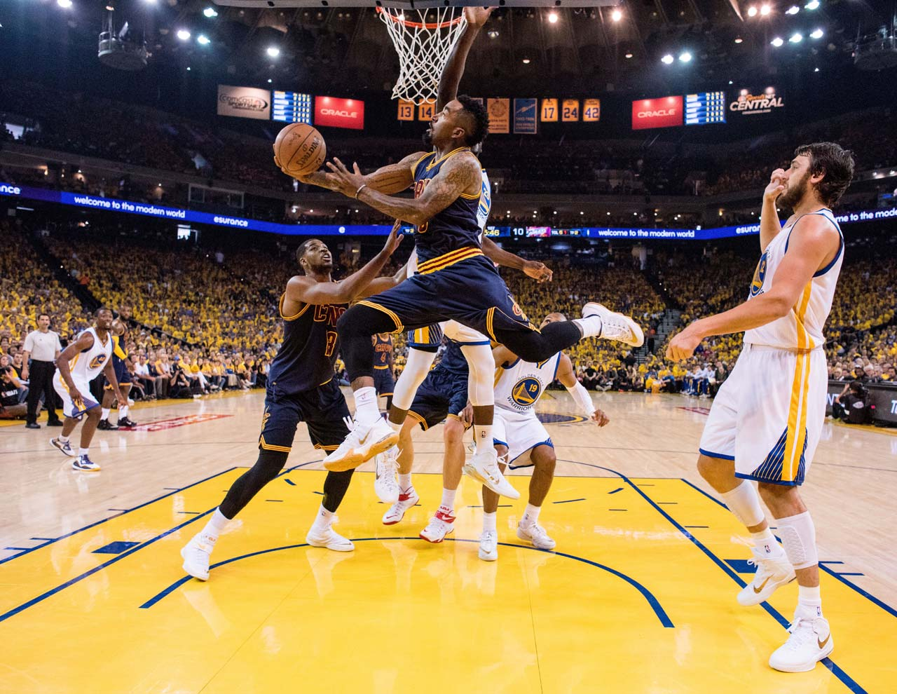 J.R. Smith was more aggressive at attacking the basket now that Kyrie Irving is lost to the Cavaliers for the remainder of the series.