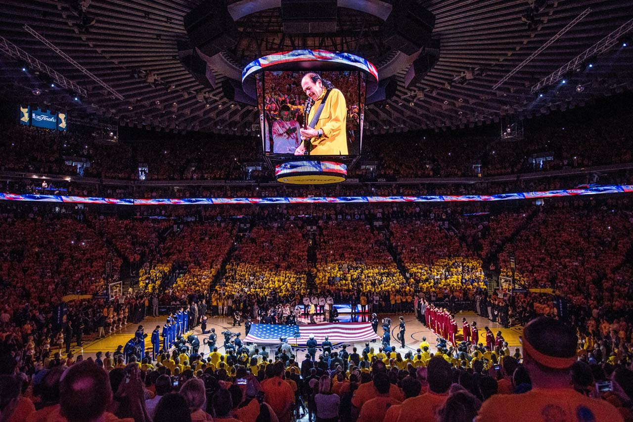 Bay Area native Carlos Santana performed the national anthem before Game 2 at Oracle Arena.