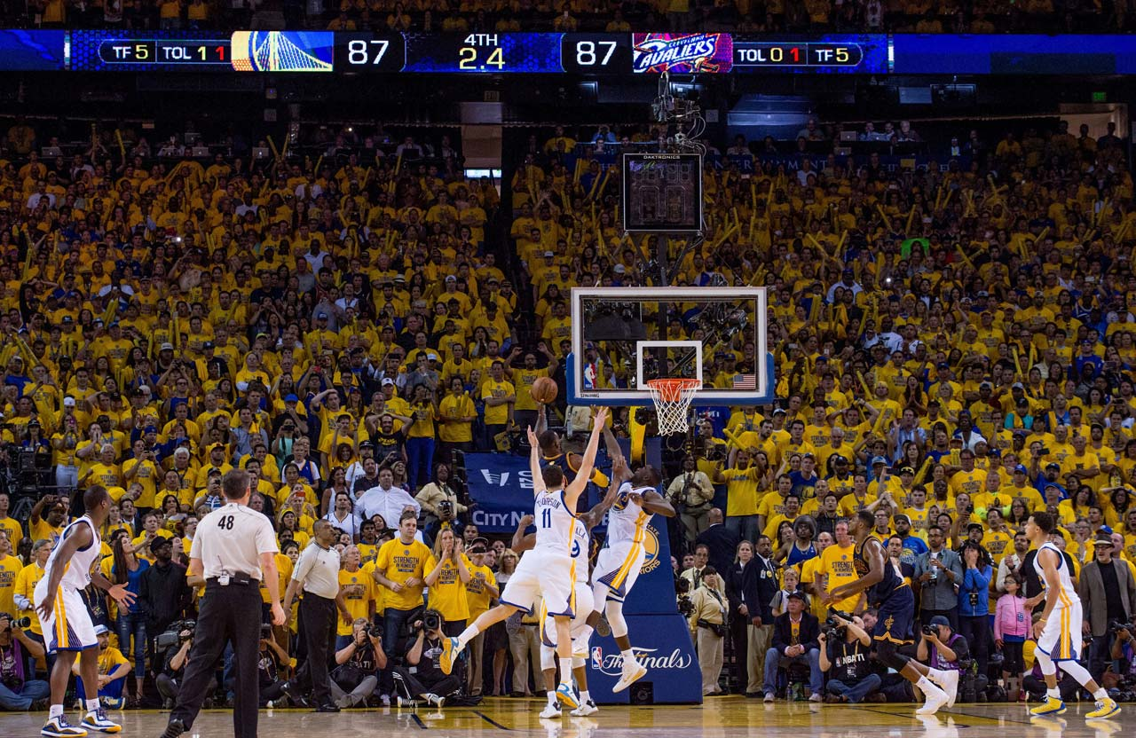 With the game tied and 2.4 seconds remaining in regulation, Golden State harrassed LeBron James into missing this shot.