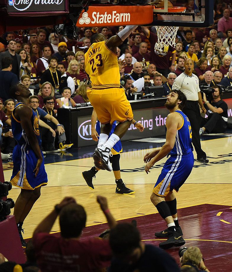 LeBron James threw down a monster dunk in the first half.