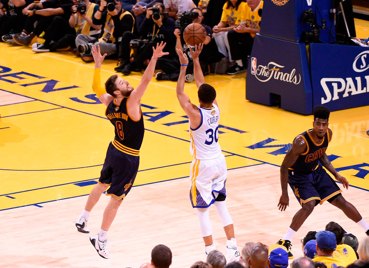 Steph Curry drained a three for the ages late in the fourth quarter, dribbling behind his back and crossing over Matthew Dellavedova before stepping back and taking the shot. Curry sank seven three-pointers on the night.