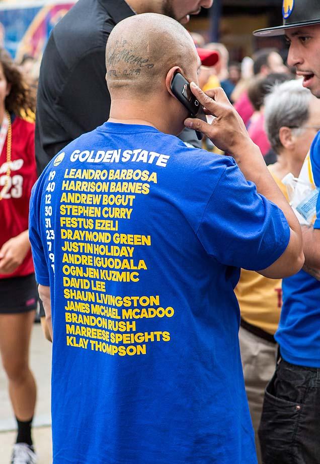 A Golden State fan was in the minority at Cavs Fan Fest.