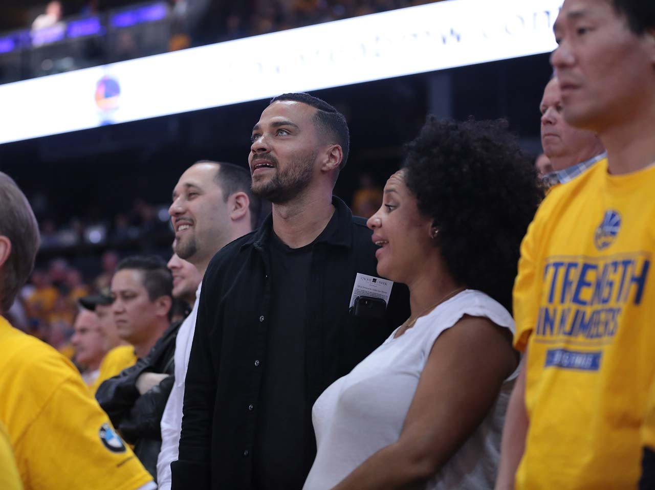 Actor Jesse Williams takes in Game 2 of the NBA Finals.