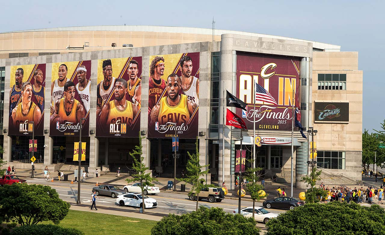 Banners draped on the front of Quicken Loans Arena in Cleveland.