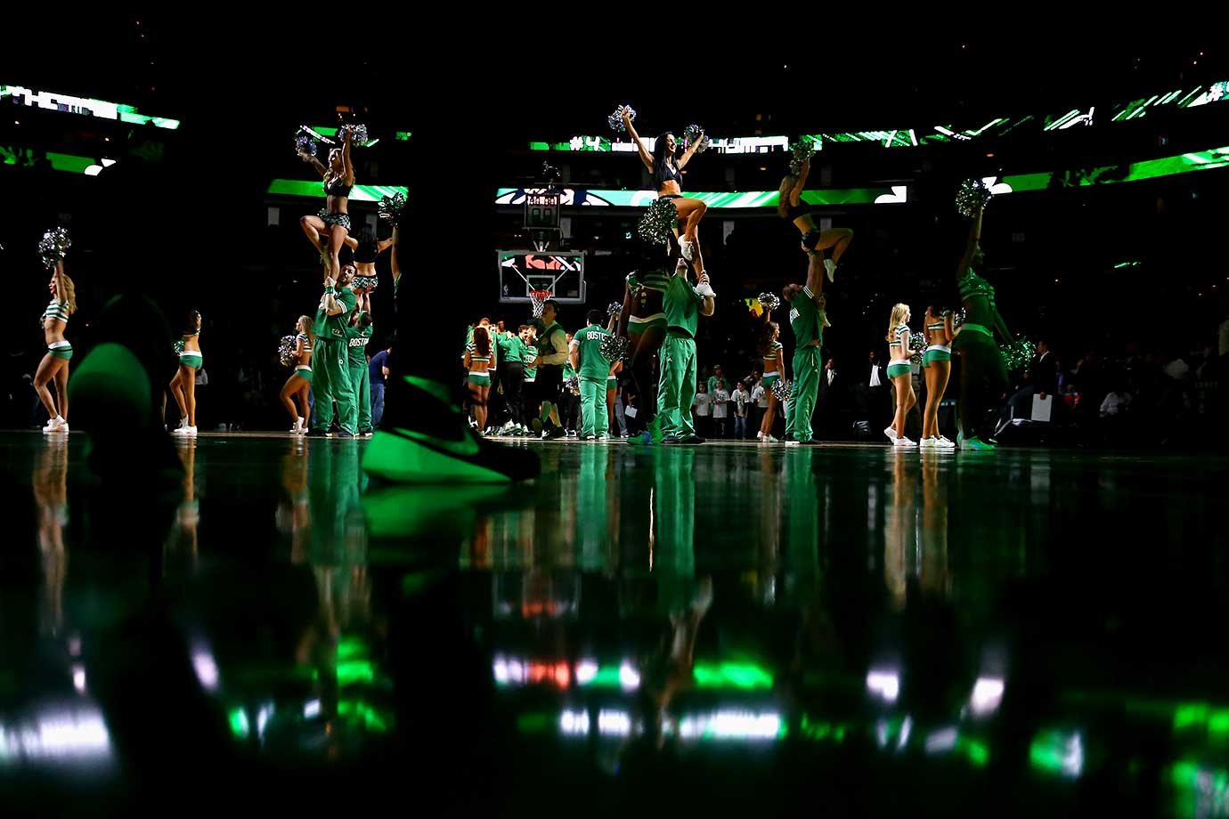 The Celtics dancers perform before the game against the Orlando Magic.