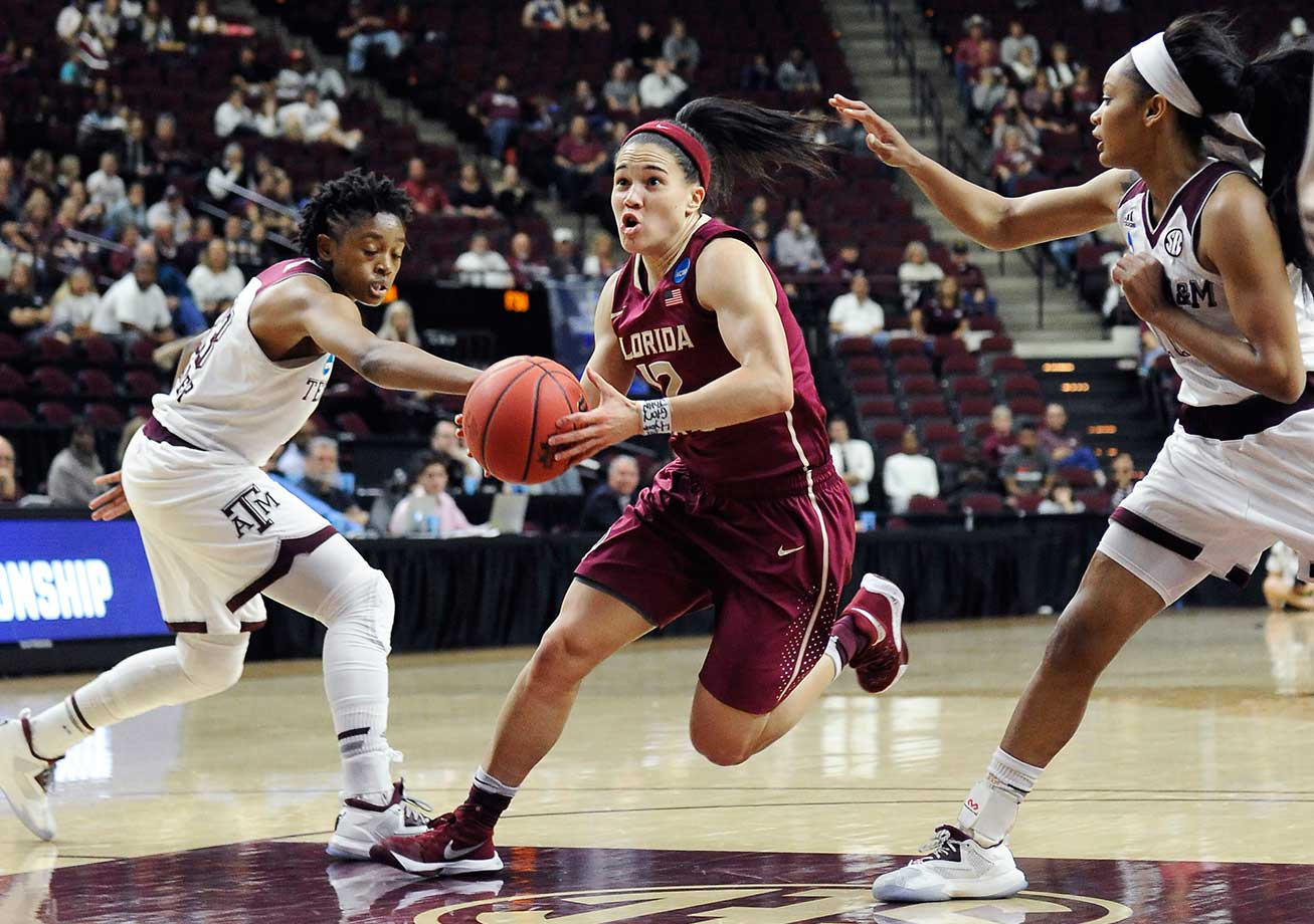 Florida State's Brittany Brown drives to the basket between Texas A&M defenders Courtney Walker, left, and Curtyce Knox.