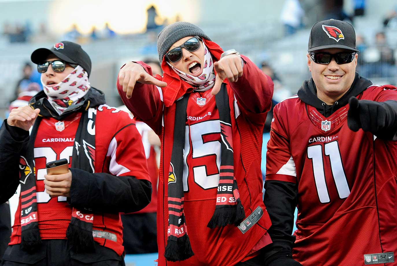 Arizona Cardinals fans gesture prior to the NFC Championship Game.
