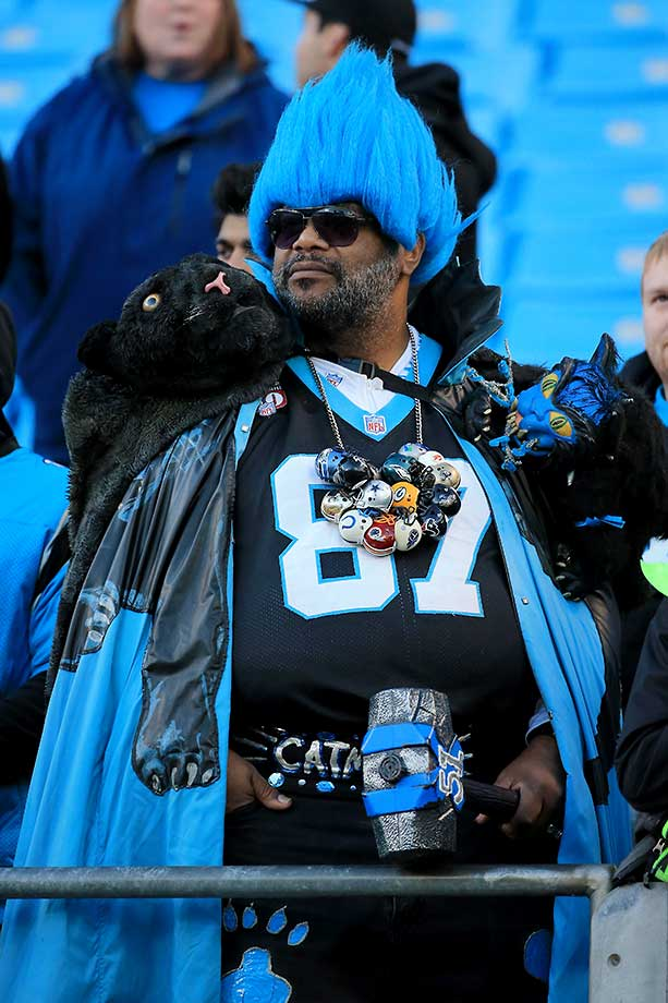 A Carolina Panther fan waits for the game to start.
