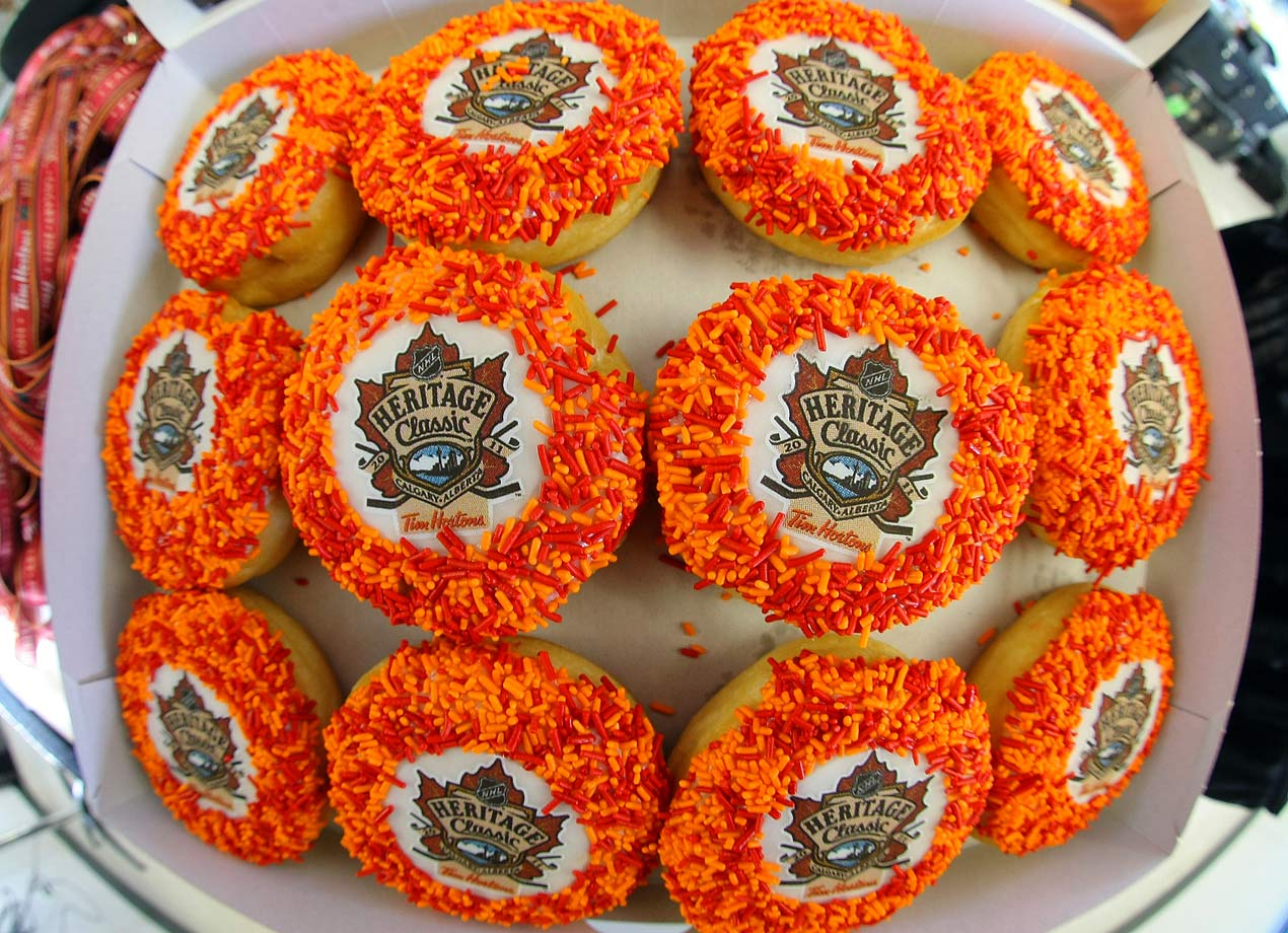 A box of Tim Hortons doughnuts decorated for the NHL's Heritage Classic sit at McMahon Stadium on Feb. 18, 2011 in Calgary.