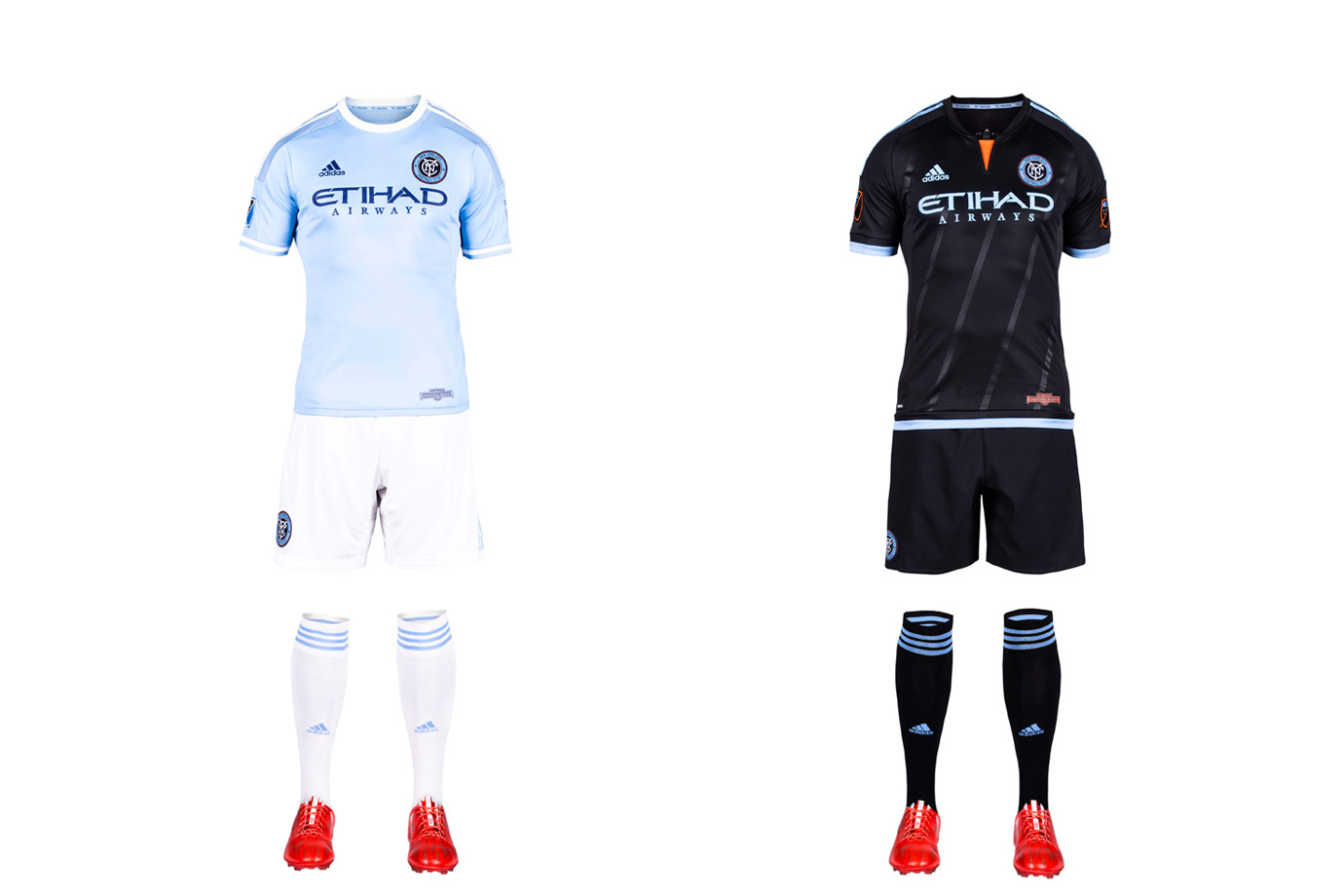 "New York City FC took some heat for its sky blue home shirt, which looks a whole lot like the one worn by parent/sister club Manchester City. But an homage was inevitable, and NYCFC has differentiated itself from MCFC, and the rest of MLS, with the white shorts and socks. It's a sharp look. The away kit, highlighted by a flash of orange (from the city flag) at the neck and five stripes you can barely see that ""represent the five boroughs of New York City,"" is lazy. With a blank template, NYCFC should've come up with something other than the mono-black already worn in D.C. and Columbus."