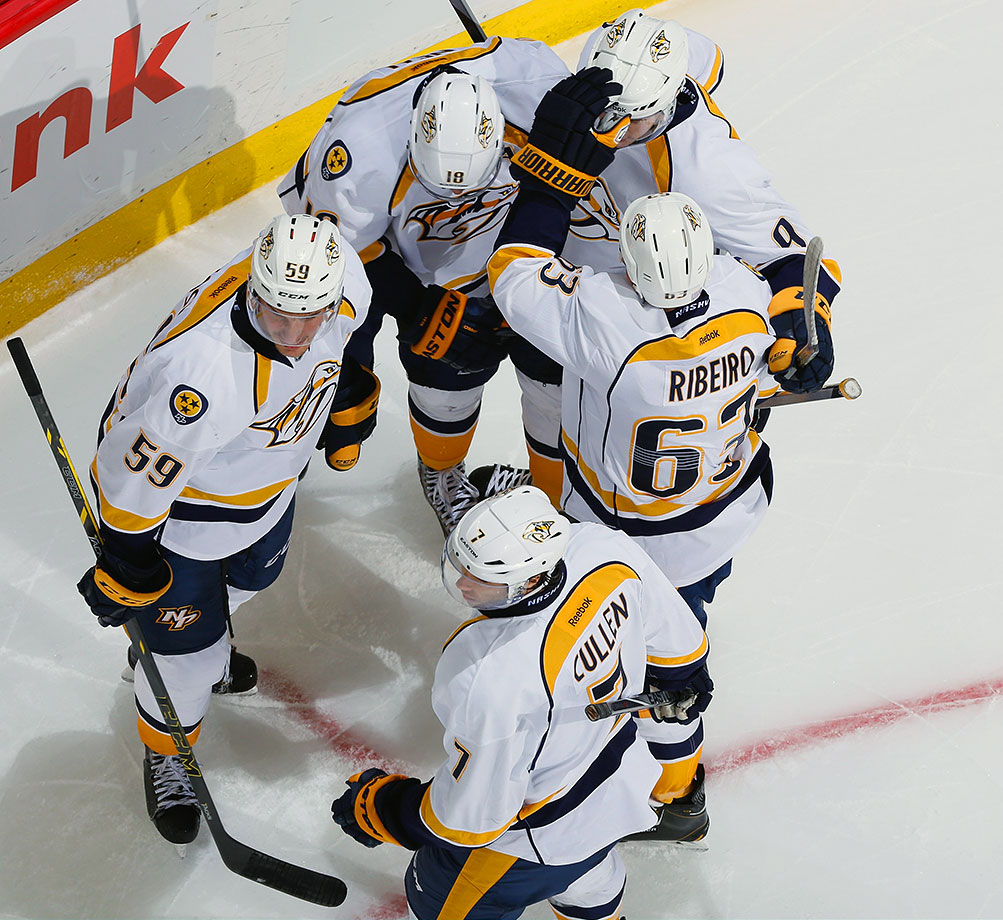 The Preds have most of the pieces needed to mount a serious Cup challenge—elite goaltending from Pekka Rinne and a deep, talented blueline—but can any team dressing Mike Ribeiro, Matt Cullen, Cody Hodgson and Paul Gaustad as its four centers be taken seriously as contenders? Ribeiro and Cullen are both 35 and aging out quickly. Hodgson has washed out in Vancouver and Buffalo. Gaustad is strictly a two-zone player. That group's not up to the challenge of Jonathan Toews, Anze Kopitar and Tyler Seguin.