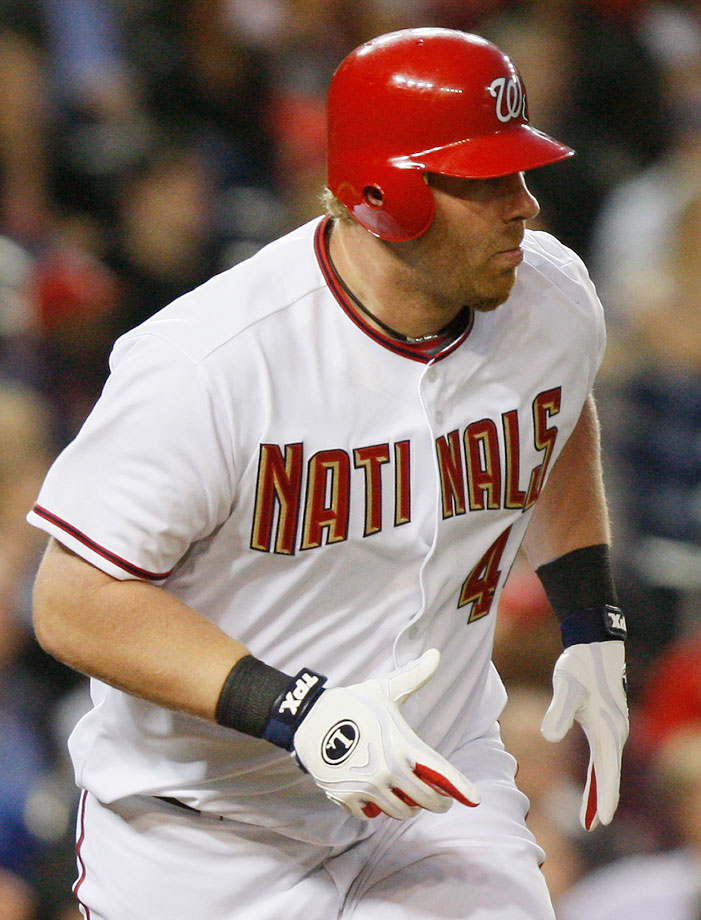 "In a game against the Marlins on April 17, 2009, the Washington Nationals sent their two best hitters, Adam Dunn (pictured) and Ryan Zimmerman, onto the field wearing ""NATINALS"" jerseys for three innings."