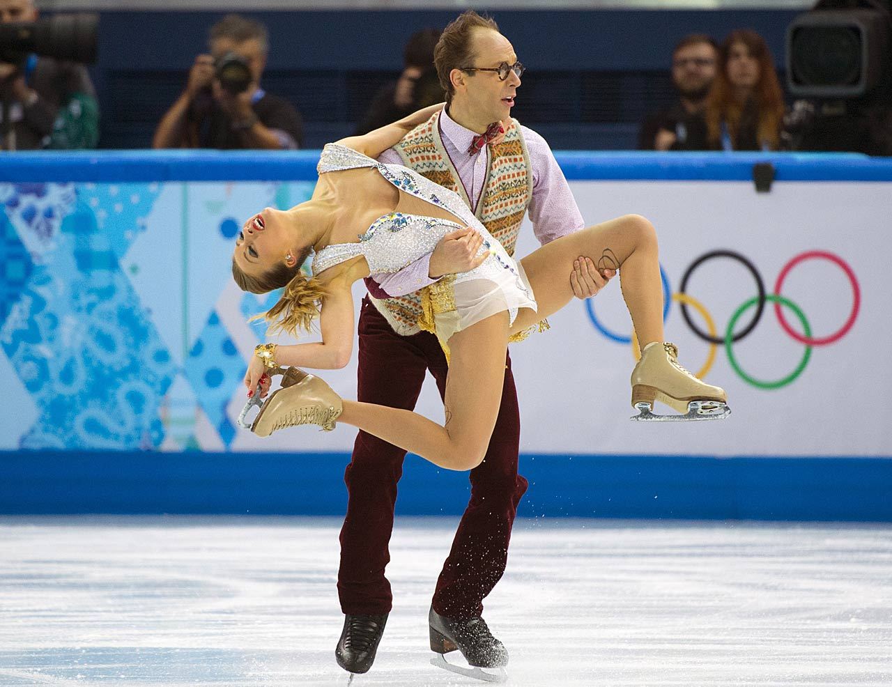 Nelli Zhiganshina and Alexander Gazsi of Germany perform in the Team Ice Dance competition.