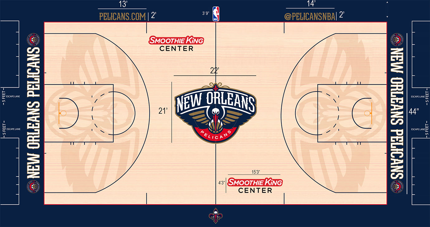 Long live the pelican. In one of the most ambitious uses of originality in stain across the NBA, New Orleans gave us pelican wings filling the entirety of the areas inside the three-point arc.