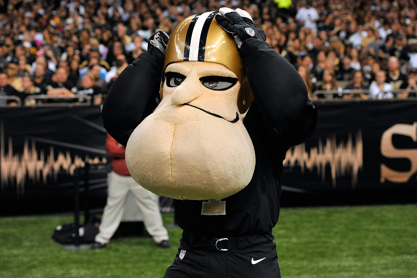 """Once again, a little like the Redskins, this is a tough mascot to create that evokes anything to do with the team name. When was the last time you saw a tough saint that didn't evoke images of the bad guy from """"The Da Vinci Code""""? But Sir Saint!?! He's like the love child of Peter Griffin and Richard Nixon – neither of which, I might add, should be considered for sainthood!"""