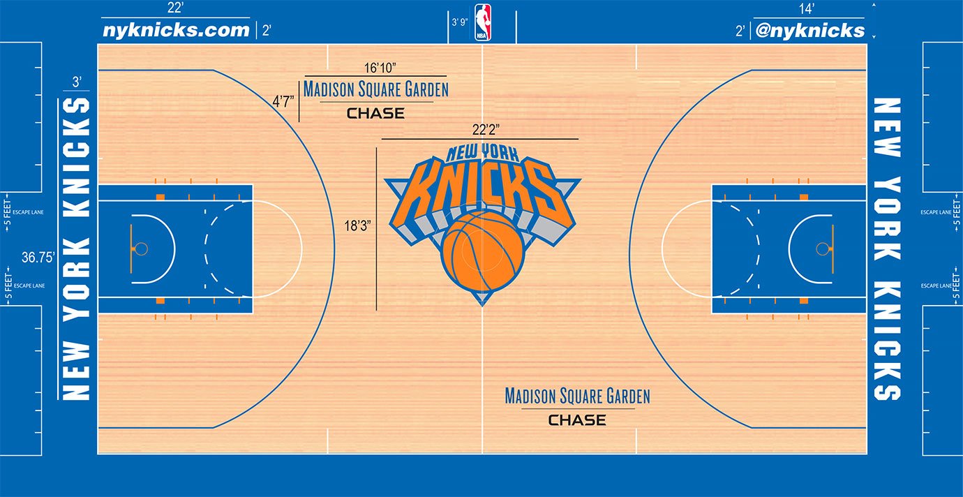 The Knicks have returned to blue in the paint. The orange-heavy Knicks logo at center doesn't look as muted any longer by adding blue back into the paint, improving this clean Madison Square Garden look.