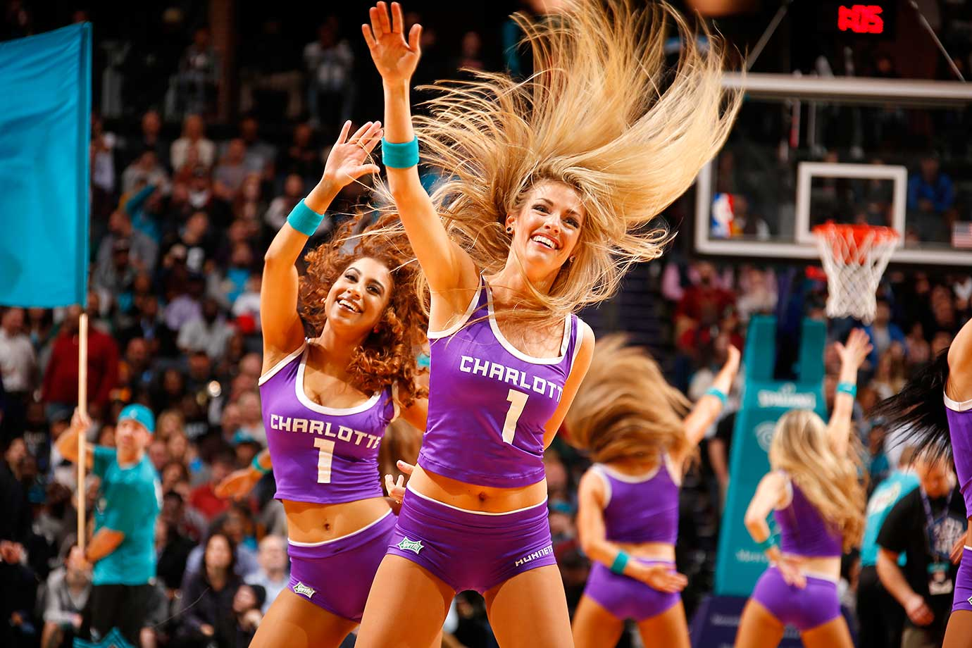 The Charlotte Hornets dancers perform their routine during the game against the Cleveland Cavaliers at Time Warner Cable Arena in North Carolina.