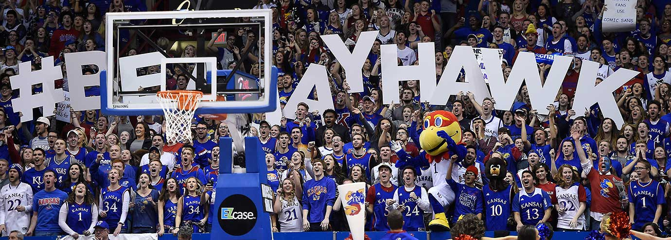The Kansas student section in the Sunflower Showdown against Kansas State at Allen Fieldhouse in Lawrence. Kansas won, 77-59.
