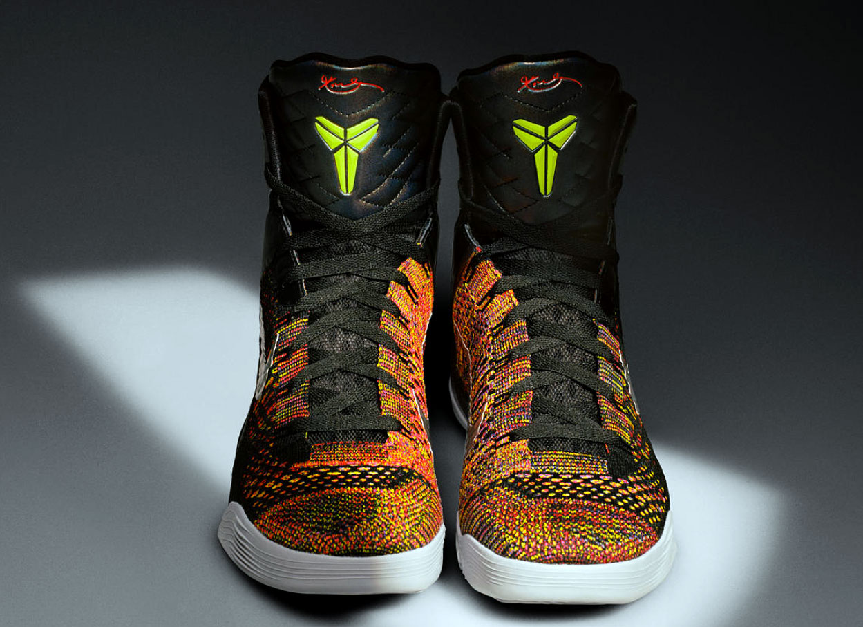 Forget low-cut. The KOBE 9 went ultra-high while unveiling Flyknit yarn for the first time in a basketball shoe when the shoe launched in February 2014. With Lunarlon introduced a year before and Flywire around for years, three key Nike technologies combine in the 9 to allow the much taller shoe to remain lightweight and supportive, yet still with the movement of a low-cut. The engineered yarn also let designers play with color.