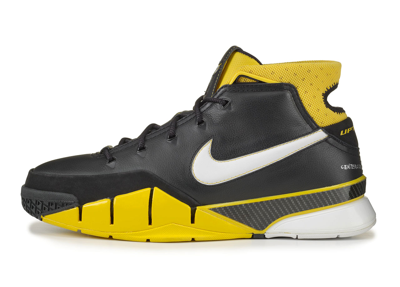 A prolonged switch from adidas to Nike (and social and legal issues off the court) kept the first signature Nike shoe for Kobe from the sneaker world until the 2005 release of a full-grain leather shoe. A full-length carbon fiber spring plate was key technology aimed at lightweight stability.