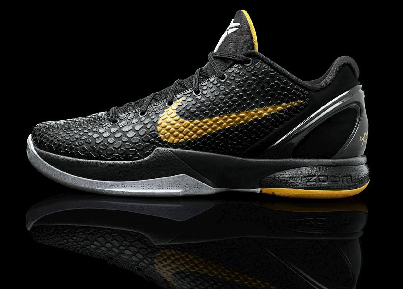 """Nike calls them """"islands,"""" the Black Mamba-inspired pieces of snake skin that increase or decrease in size to protect the durability of the shoe. The continued lightweight, low-cut design with Flywire upgraded in the late 2010 release of the VI with a new fit system that included a dual-layer memory foam sockliner conforming to the foot and an injected cushioning system. Nike Zoom Air units in the heel and forefoot added additional cushioning."""