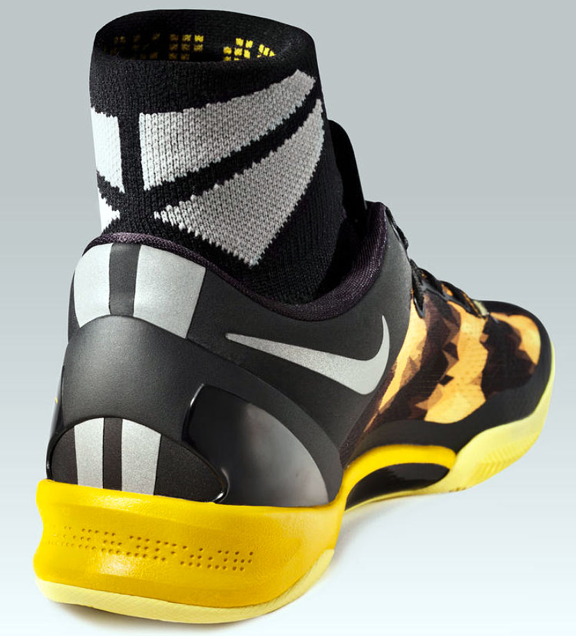 In December 2012, Nike went lower and lighter than ever before with a Kobe signature, using engineered mesh for the first time in a basketball shoe -- of course with a snakeskin pattern to go all Black Mamba on us -- to drop the weight of the VIII to 9.6 ounces. With 90 percent mesh and a no-sew construction, designers put more protective and supportive mesh where needed, while lightening and making other areas more breathable. A full-length Lunarlon midsole helped cushion against the thinnest outsole for a Kobe signature yet.