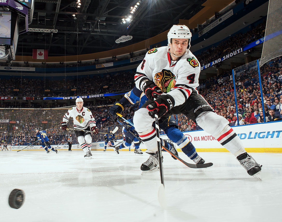 It was one of those deadline day deals that draws little attention: a depth defenseman (Alex Karpovtsev) to the Islanders for a fourth rounder. There wasn't much said after the Hawks used that pick (108) on a little-known Swedish defender. But 10 years later, Hjalmarsson has turned out to be a pivotal decision, one that solidified Chicago's blue line and contributed to three Stanley Cup wins.
