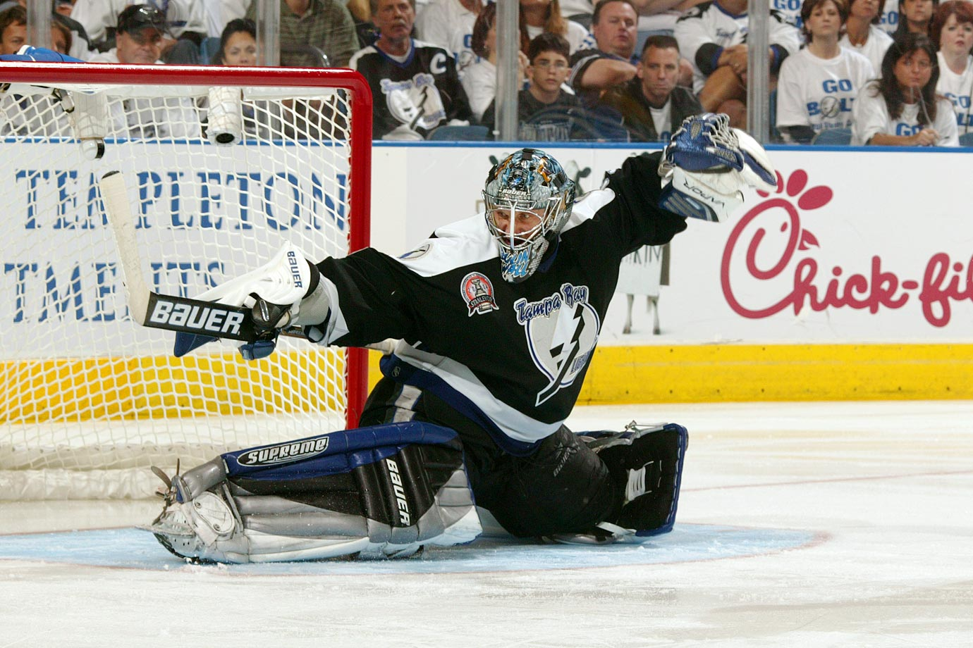 The Bulin Wall suited up for four franchises during his 18-season career, including two stints with the Blackhawks, but it was with the Lightning that he enjoyed his greatest success. Acquired from Phoenix ahead of the 2001 trade deadline, he spent four years in Tampa, making two All-Star Game appearances and backstopping the Bolts to the 2004 Stanley Cup. He posted five shutouts that spring, including a 29-save effort to lead Tampa to a 1-0 win over Calgary in Game 4 of the Cup finals.