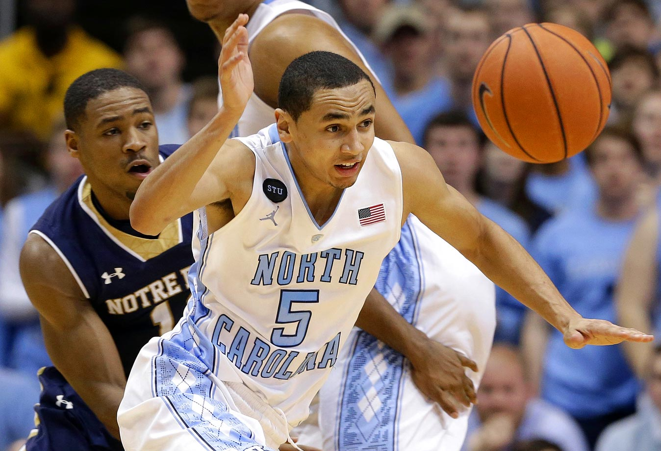 Marcus Paige and the Tar Heels wear STU patches on their uniforms in memory of Stuart Scott during their game against Notre Dame at Dean Smith Center on Jan. 5, 2015 in Chapel Hill, N.C.