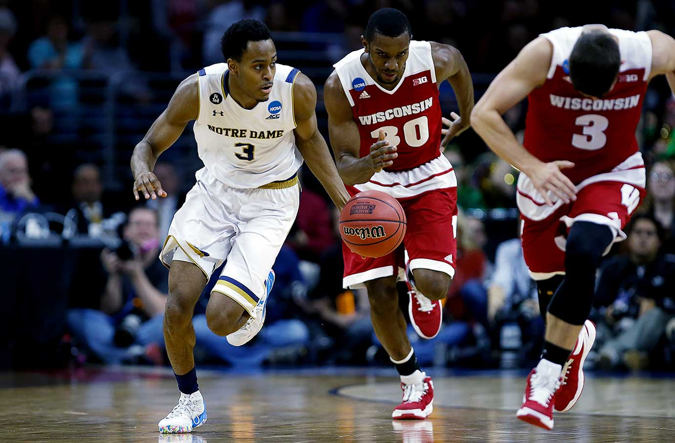Notre Dame scored 10 points in the final 46 seconds to make up for a 23-19 halftime deficit.