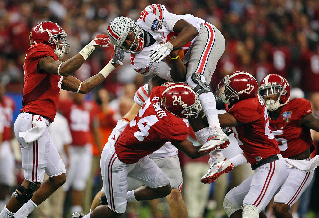 Jones also ran for 43 yards and converted a crucial third-down play with a spinning, 1-yard dive and Ohio State clinging to a 34-28 lead.