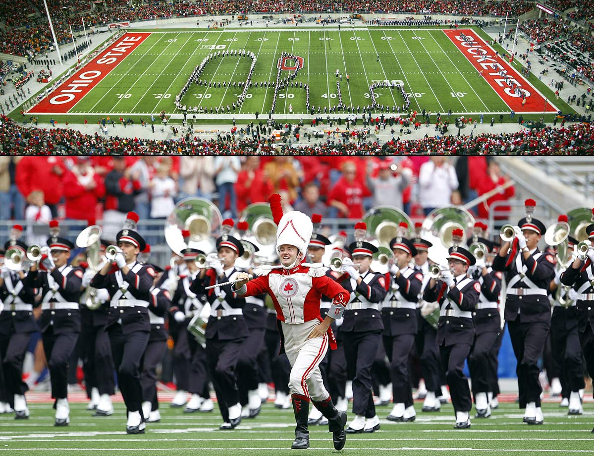 "While the Buckeyes fortunes on the football field have risen and fallen over the years, the marching has long been known as The Best Damn Band In The Land. The band has always been known for its formations: the ""Script Ohio"" is one of the great traditions in college football, where the band spells out ""Ohio"" in cursive letters and lets a lucky sousaphone player or special guest dot the ""i"" in the word. The ban first performed Script Ohio back in 1936, and it remains a fan favorite."