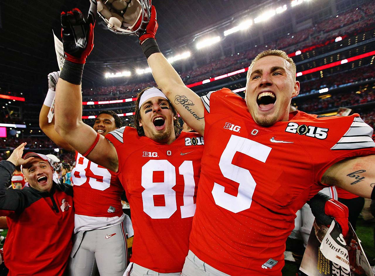 Ohio State's Jeff Heuerman (5), Nick Vannett (81) and Marcus Baugh (85) whoop it up at the national title game.