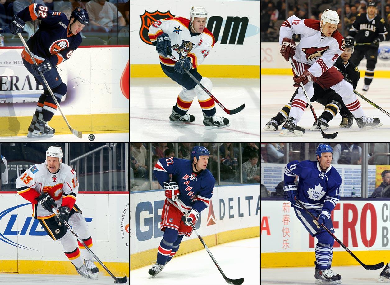 Los Angeles to NY Islanders (6/20/99), NY Islanders to Florida (6/24/00), Florida to Phoenix (6/20/08), Phoenix to Calgary (3/4/09), Calgary to NY Rangers (2/2/10), Nashville to Toronto (2/15/15); Toronto to St. Louis (3/2/15)