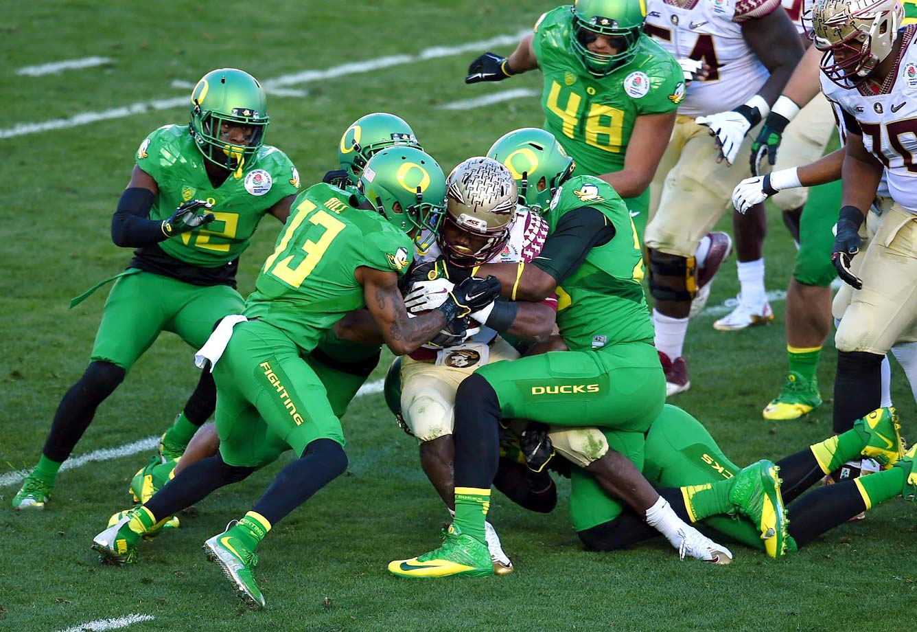 Dalvin Cook rushed for 103 yards, but the Oregon defense forced Florida State's freshman running back to fumble twice.