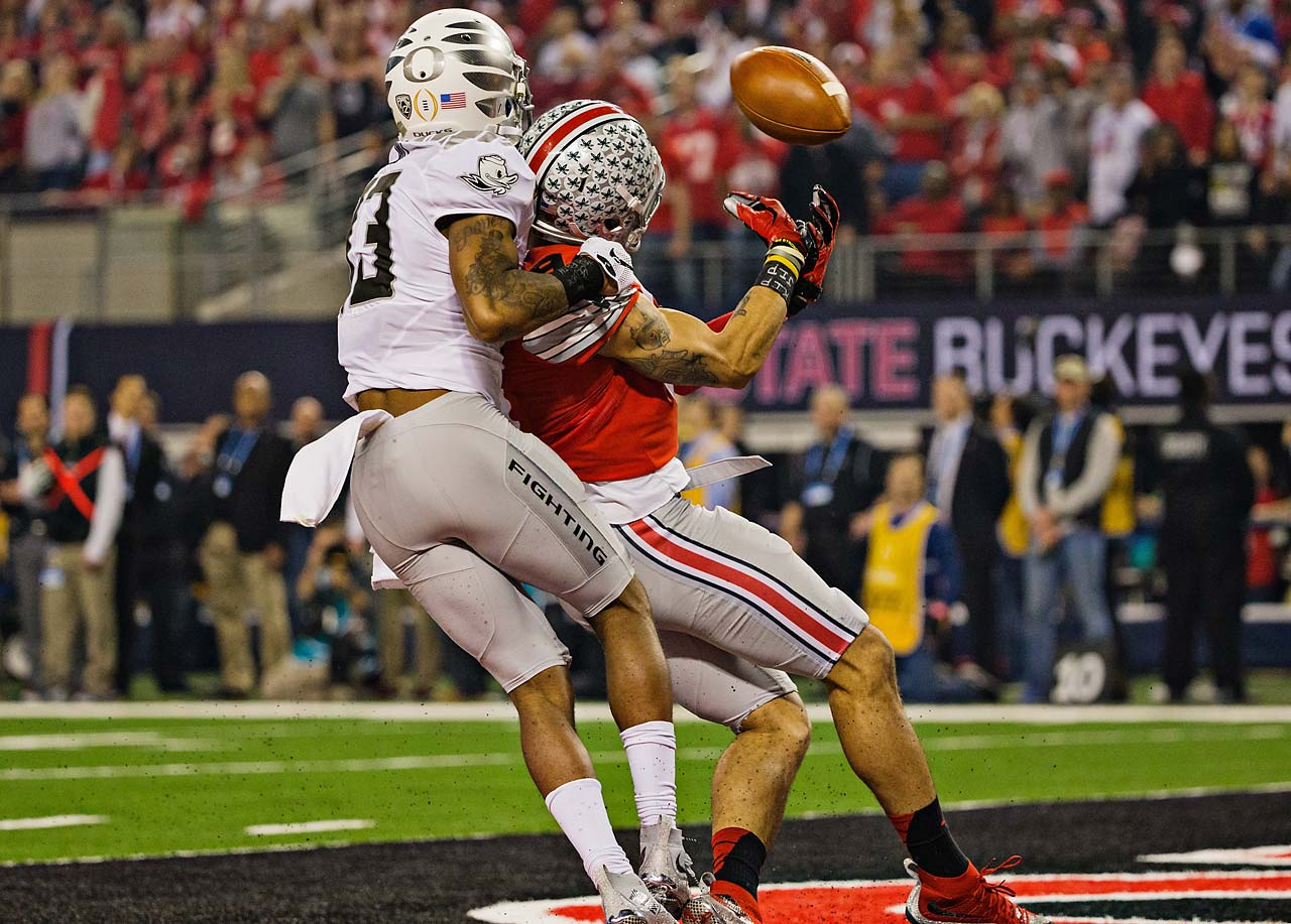 Oregon was called for pass interference on this play in the end zone.