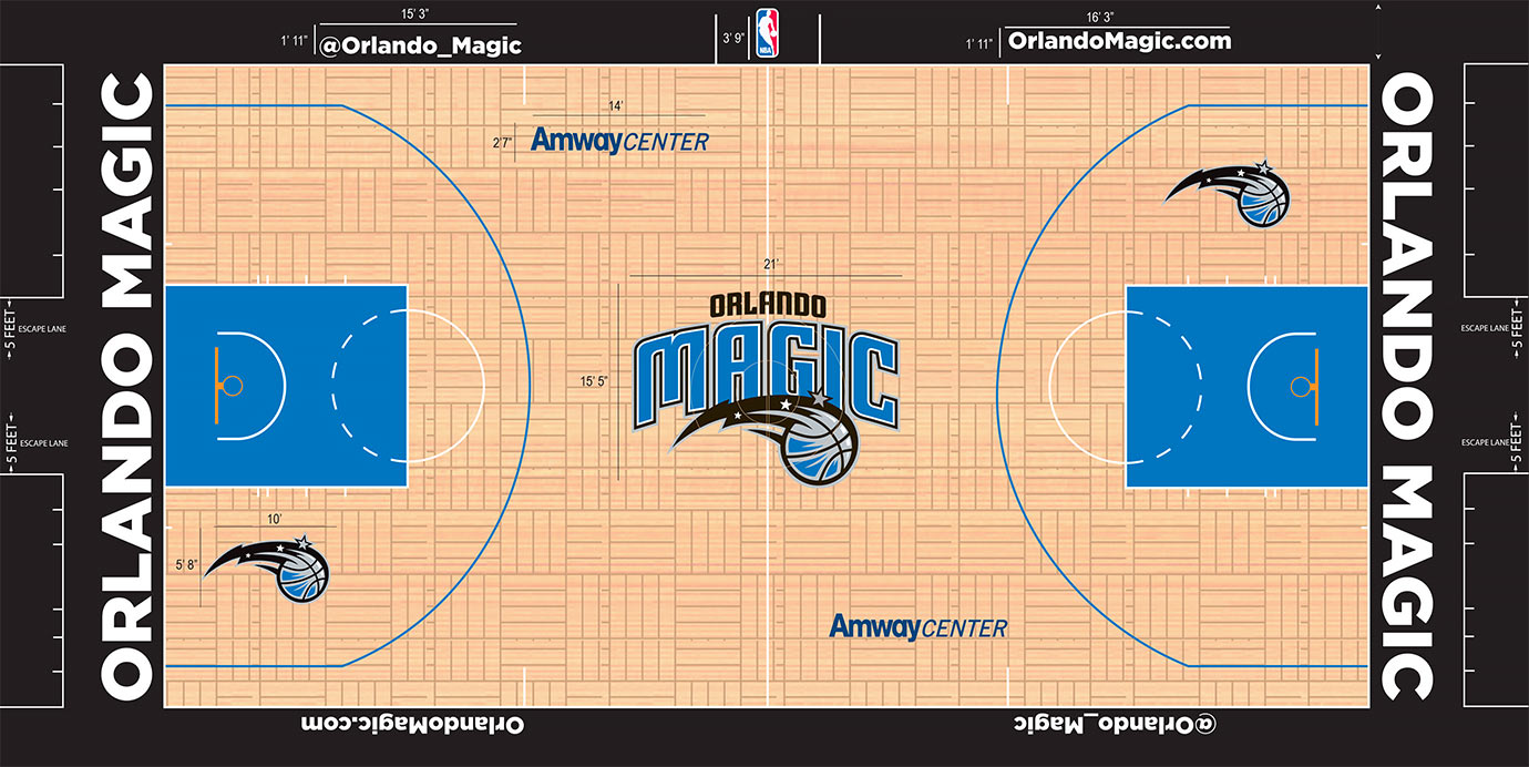 As only one of two teams going with a true parquet look, Orlando pulls it off well. The blue and black merge solidly with blue in the key and black framing the court as the color out of bounds.